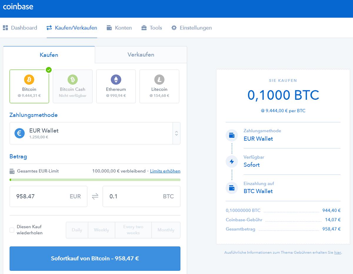 Bitcoin kaufen über Coinbase