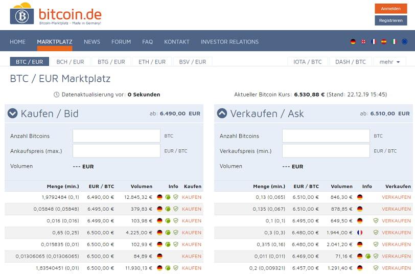 Screen Bitcoin.de